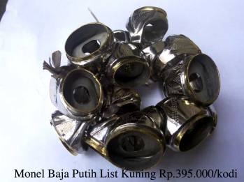 Ring Monel Baja Putih list kuning