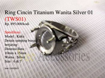 Ring Cincin Titanium Wanita Silver 01 (TWS01)