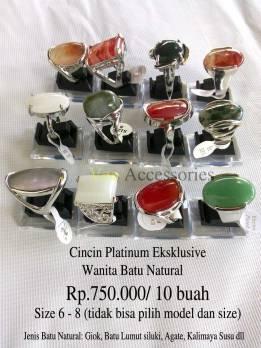 Cincin Platinum Eksklusive Wanita Batu Natural Rp.750.000/ 10 buah