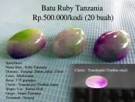 Batu Ruby Tanzania Rp.500.000/kodi (20 buah)