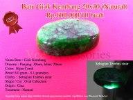 Batu Giok Kembang 20x30 (Natural) Rp.600.000/10 buah Spesifikasi: Nama Batu : Giok Kembang Dimensi : Panjang: 30mm, lebar: 20mm Color: Hijau Corak Berat: 8.0 gram - 8.1 gram/pcs Clarity : Sebagian Tembus sinar Shape / Cut : Oval Cabochon Origin : Cina Treatment : Natural Note: Keaslian batu sudah diuji melalui metode penyinaran (senter), Api/Bakar dan Diamond Selector