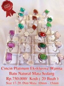 Cincin Platinum Eksklusive Wanita Batu Natural Mata Sedang Rp.750.000/Kodim (20 buah)
