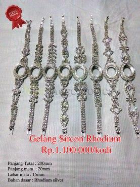 Gelang Sircon Rhodium Rp.1.100.000/kodi Panjang Total : 200mm Panjang mata : 20mm Lebar mata : 15mm Bahan dasar : Rhodium silver