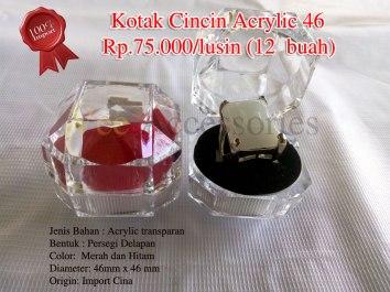 Kotak Cincin Bulat Acrylic 52 Rp.100.000/lusin (12 buah) Spesifikasi: Jenis Bahan : Acrylic transparan Bentuk : Bulat Color: Merah dan Hitam Diameter: 52mm x 52mm Origin: Import Cina