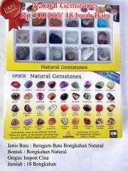 Natural Gemstones Rp.500.000/ 18 buah batu Spesifikasi: Jenis Batu : Beragam Batu Bongkahan Natural Bentuk : Bongkahan Natural Origin: Import Cina Jumlah : 18 Bongkahan