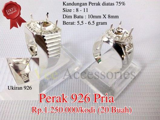 Perak 926 PriaRp.1.250.000/kodi Kandungan Perak diatas 75% Size : 8 - 11 Dim Batu : 10mm X 8mm Berat: 5,5 - 6.5 gram