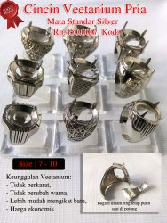 Cincin Veetanium Pria mata standar silver Rp.450.000/ Kodi